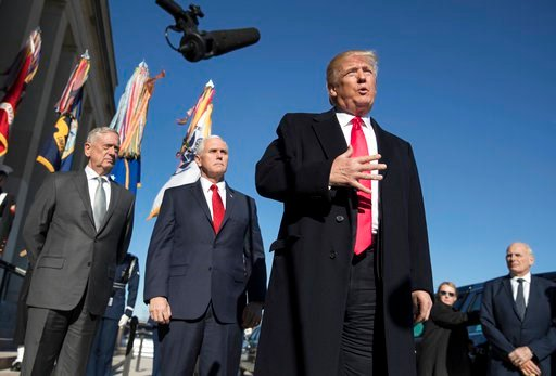 (AP Photo/Carolyn Kaster, File). FILE - In this Jan. 18, 2018, file photo, President Donald Trump, joined by Defense Secretary Jim Mattis, left, Vice President Mike Pence, second from left, and White House Chief of Staff John Kelly, right, speaks to th...
