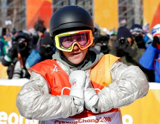 (AP Photo/Lee Jin-man). RedGerard, of the United States, reacts after his run during the men's slopestyle final at Phoenix Snow Park at the 2018 Winter Olympics in Pyeongchang, South Korea, Sunday, Feb. 11, 2018.