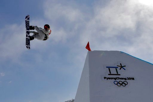(AP Photo/Kin Cheung). RedGerard, of the United States, jumps during the men's slopestyle final at Phoenix Snow Park at the 2018 Winter Olympics in Pyeongchang, South Korea, Sunday, Feb. 11, 2018.
