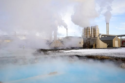(AP Photos/Egill Bjarnason). In this photo taken on Jan. 18, 2018, large clouds of steam rise into the sky from the Svartsengi geothermal power station in Grindavík, Iceland. With massive amounts of energy needed to obtain bitcoins, large cryptocurrenc...