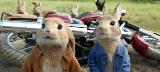 "(Columbia Pictures/Sony via AP, Filr). FILE - This filei mage released by Columbia Pictures shows characters Benjamin, voiced by Colin Moody, left, and Peter Rabbit, voiced by James Corden and Cottontail in a scene from ""Peter Rabbit."" ""Peter Rabbit"" h..."