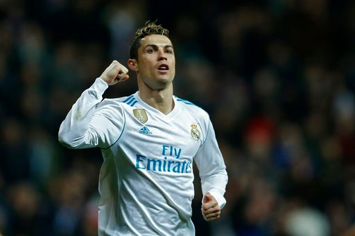 (AP Photo/Francisco Seco). Real Madrid's Cristiano Ronaldo celebrates after scoring his side's fifth goal during a Spanish La Liga soccer match between Real Madrid and Real Sociedad at the Santiago Bernabeu stadium in Madrid, Saturday, Feb. 10, 2018.