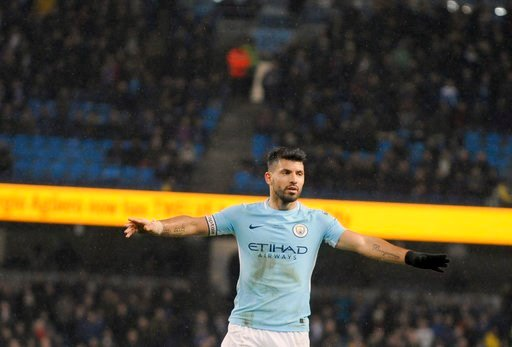 (AP Photo/Rui Vieira). Manchester City's Sergio Aguero celebrates after scoring his side's fifth goal during the English Premier League soccer match between Manchester City and Leicester City at the Etihad Stadium in Manchester, England, Saturday, Feb....
