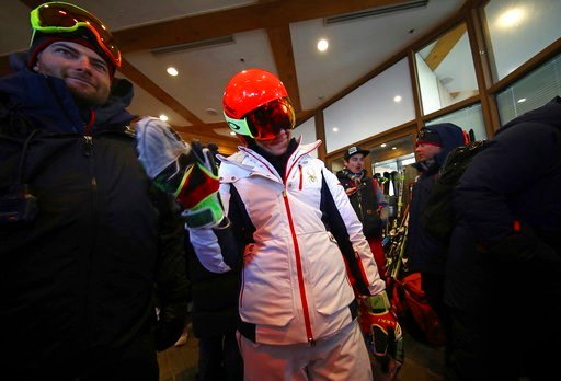 (AP Photo/Alessandro Trovati). United States' MikaelaShiffrin waves as she leaves the course after the women's giant slalom was postponed due to high winds at the 2018 Winter Olympics at the Yongpyong Alpine Center, Pyeongchang, South Korea, Monday, F...