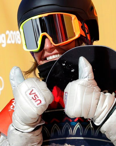 (AP Photo/Lee Jin-man). Jamie Anderson, of the United States, reacts to her score during the women's slopestyle final at Phoenix Snow Park at the 2018 Winter Olympics in Pyeongchang, South Korea, Monday, Feb. 12, 2018.
