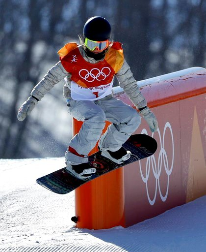 (AP Photo/Gregory Bull). Jamie Anderson, of the United States, runs the course during the women's slopestyle final at Phoenix Snow Park at the 2018 Winter Olympics in Pyeongchang, South Korea, Monday, Feb. 12, 2018.