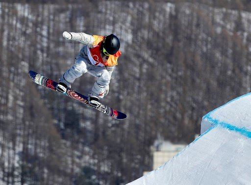 (AP Photo/Gregory Bull). Jamie Anderson, of the United States, jumps during the women's slopestyle final at Phoenix Snow Park at the 2018 Winter Olympics in Pyeongchang, South Korea, Monday, Feb. 12, 2018.