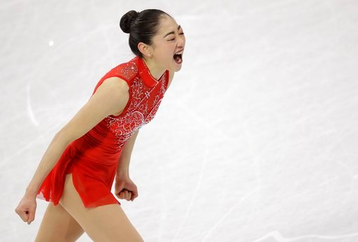 (AP Photo/Bernat Armangue). Mirai Nagasu of the United States celebrates after her performance in the ladies single skating free skating in the Gangneung Ice Arena at the 2018 Winter Olympics in Gangneung, South Korea, Monday, Feb. 12, 2018.
