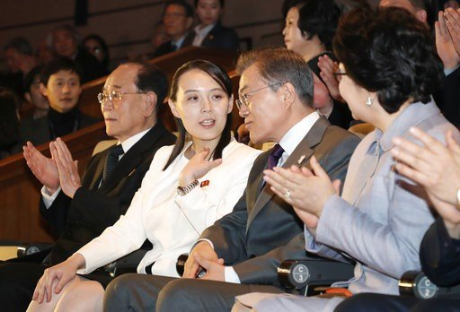 (Bee Jae-man/Yonhap via AP). South Koran President Moon Jae-in, third from left, talks with Kim Yo Jong, second from left, North Korean leader Kim Jong Un's sister, as they watch a performance of North Korea's Samjiyon Orchestra at National Theater in ...