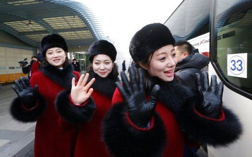 (AP Photo/Ahn Young-joon. File). In this Feb. 7, 2018 photo, North Korean cheering squads wave upon their arrival at the Korean-transit office near the Demilitarized Zone in Paju, South Korea. A North Korean delegation, including members of a state-tra...