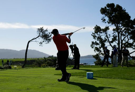 (AP Photo/Eric Risberg). Ted Potter Jr. follows his shot from the fifth tee of the Pebble Beach Golf Links during the final round of the AT&T Pebble Beach National Pro-Am golf tournament Sunday, Feb. 11, 2018, in Pebble Beach, Calif.