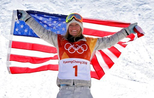 (AP Photo/Lee Jin-man). JamieAnderson, of the United States, celebrates winning gold after the women's slopestyle final at Phoenix Snow Park at the 2018 Winter Olympics in Pyeongchang, South Korea, Monday, Feb. 12, 2018.