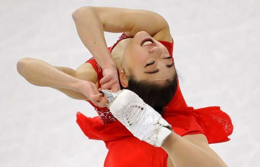 (AP Photo/Bernat Armangue). Mirai Nagasu of the United States performs in the ladies single skating free skating in the Gangneung Ice Arena at the 2018 Winter Olympics in Gangneung, South Korea, Monday, Feb. 12, 2018.