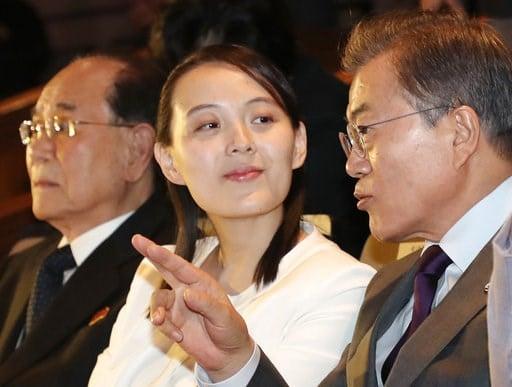 (Bee Jae-man/Yonhap via AP). South Koran President Moon Jae-in talks with Kim Yo Jong, North Korean leader Kim Jong Un's sister, during a performance of North Korea's Samjiyon Orchestra at National Theater in Seoul, South Korea, Sunday, Feb. 11, 2018. ...