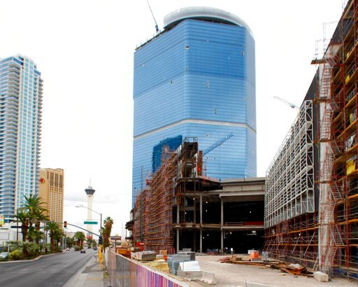 (Steve Marcus/Las Vegas Sun via AP, File). FILE - This Oct. 12, 2009 file photo shows the stalled Fontainebleau Las Vegas casino-hotel project in Las Vegas. The hulking, bluish casino-resort, which has sat unfinished on the Las Vegas Strip since 2009 a...