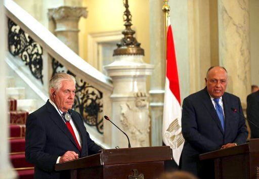 (Khaled Elfiqi/Pool photo via AP). Secretary of State Rex Tillerson, left, and Egyptian Foreign Minister, Sameh Shoukry hold a press conference after their meeting, at Tahrir Palace, in Cairo, Egypt, Monday, Feb. 12, 2018.