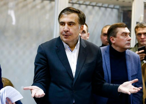 (AP Photo/Efrem Lukatsky/File). FILE - This is a Monday, Dec. 11, 2017  file photo of former Georgian President Mikheil Saakashvili as he gestures during a hearing in a court room in Kiev, Ukraine. Allies of Mikheil Saakashvili, the former Georgian pre...