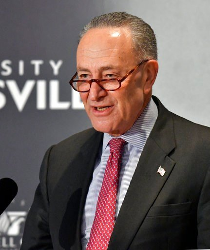 (AP Photo/Timothy D. Easley). Senate Minority Leader Charles Schumer, D-N.Y., addresses the audience during his speech at the McConnell Center's Distinguished Speaker Series Monday, Feb. 12, 2018, in Louisville, Ky.
