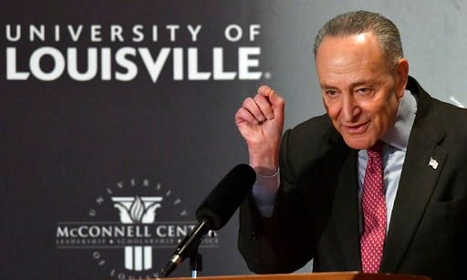 (AP Photo/Timothy D. Easley). Senate Minority Leader Charles Schumer, D-N.Y., answers a question about the budget compromise during the McConnell Center's Distinguished Speaker Series Monday, Feb. 12, 2018, on the University of Louisville campus in Lou...