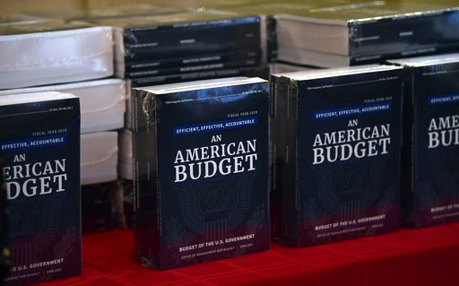(AP Photo/Susan Walsh). The President's FY19 Budget is on display after arriving on Capitol Hill in Washington, Monday, Feb. 12, 2018.