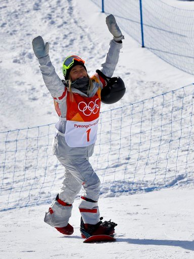 (AP Photo/Kin Cheung). ChloeKim, of the United States, reacts to fans during the women's halfpipe qualifying at Phoenix Snow Park at the 2018 Winter Olympics in Pyeongchang, South Korea, Monday, Feb. 12, 2018.