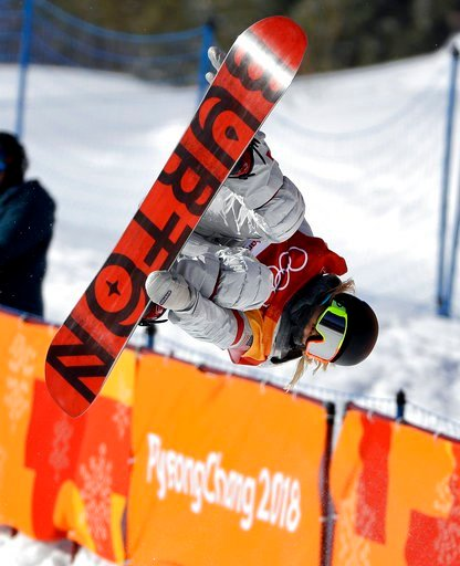 (AP Photo/Gregory Bull). Chloe Kim, of the United States, jumps during the women's halfpipe finals at Phoenix Snow Park at the 2018 Winter Olympics in Pyeongchang, South Korea, Tuesday, Feb. 13, 2018.