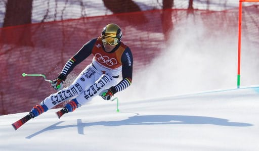 (AP Photo/Michael Probst). Germany's Thomas Dressen skis during the downhill portion of the men's combined at the 2018 Winter Olympics in Jeongseon, South Korea, Tuesday, Feb. 13, 2018.