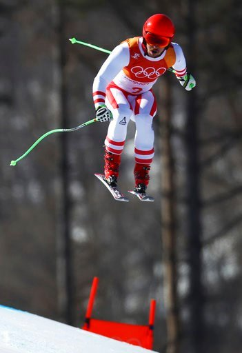 (AP Photo/Alessandro Trovati). Austria's Marcel Hirscher skis during the downhill portion of the men's combined at the 2018 Winter Olympics in Jeongseon, South Korea, Tuesday, Feb. 13, 2018.