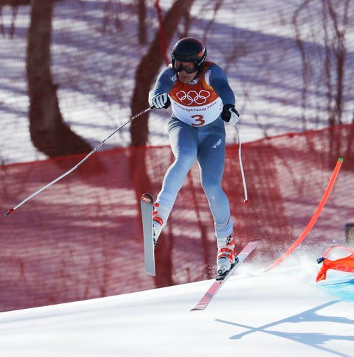 (AP Photo/Michael Probst). Russia's Pavel Trikhichev crashes during the downhill portion of the men's combined at the 2018 Winter Olympics in Jeongseon, South Korea, Tuesday, Feb. 13, 2018.