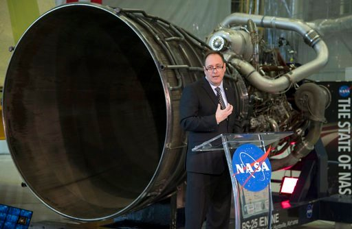 (Bill Ingalls/NASA via AP). In this image provided by NASA, acting NASA Administrator Robert Lightfoot discusses the fiscal year 2019 budget proposal during a State of NASA address, Monday, Feb. 12, 2018, at NASA's Marshall Space Flight Center.