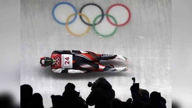 Reid Watts of Canada competes during final heats of the men's luge competition at the 2018 Winter Olympics in Pyeongchang, South Korea, Sunday, Feb. 11, 2018. (Source: AP Photo/Wong Maye-E)