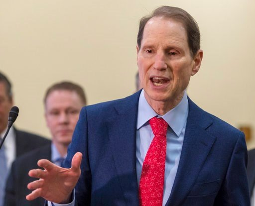 (AP Photo/J. Scott Applewhite, File). FILE - In this Jan. 10, 2018, file photo Sen. Ron Wyden, D-Ore., speaks at the Capitol in Washington. Some Medicare beneficiaries would face higher prescription drug costs under President Donald Trump's budget even...