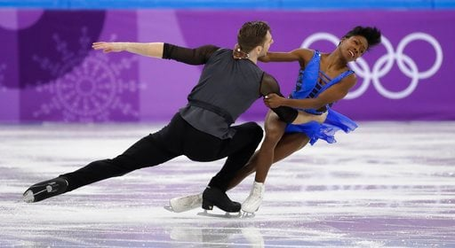 (AP Photo/Bernat Armangue). Vanessa James and Morgan Cipres of France perform in the pair skating short program team event at the 2018 Winter Olympics in Gangneung, South Korea, Friday, Feb. 9, 2018.