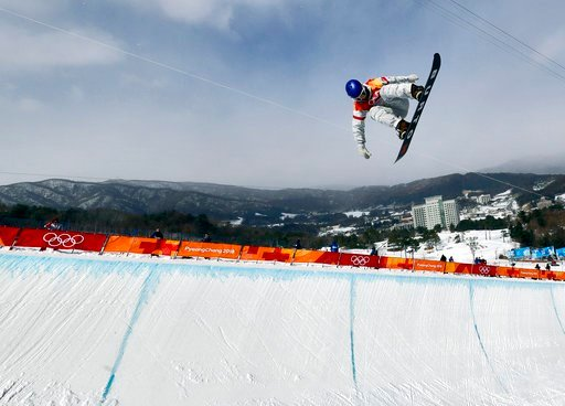 (AP Photo/Gregory Bull). Ben Ferguson, of the United States, jumps during the men's halfpipe qualifying at Phoenix Snow Park at the 2018 Winter Olympics in Pyeongchang, South Korea, Tuesday, Feb. 13, 2018.