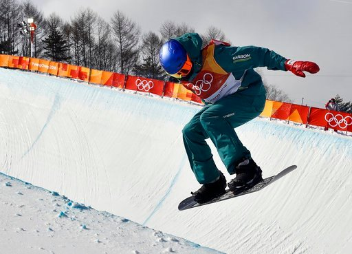(AP Photo/Kin Cheung). Scotty James, of Australia, runs the course during the men's halfpipe qualifying at Phoenix Snow Park at the 2018 Winter Olympics in Pyeongchang, South Korea, Tuesday, Feb. 13, 2018.