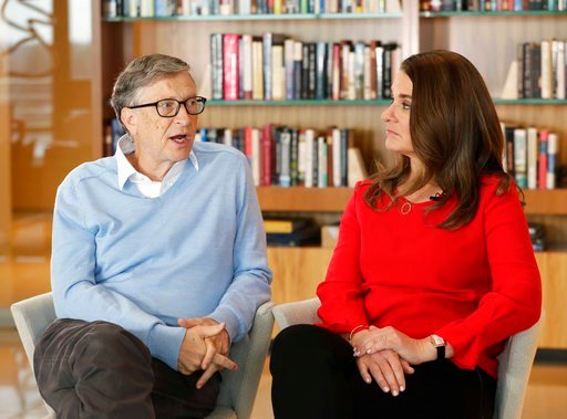 (AP Photo/Ted S. Warren). In this Feb. 1, 2018 photo, Microsoft co-founder Bill Gates and his wife Melinda take part in an interview with The Associated Press in Kirkland, Wash. Gates and his wife, head the Bill and Melinda Gates Foundation, are rethin...