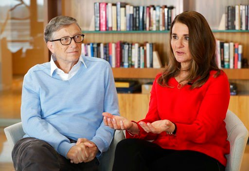 (AP Photo/Ted S. Warren). In this Feb. 1, 2018 photo, Microsoft co-founder Bill Gates and his wife Melinda take part in an interview with The Associated Press in Kirkland, Wash. The Gateses, as the world's top philanthropists, are rethinking their work...