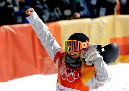 (AP Photo/Lee Jin-man). ChloeKim, of the United States, reacts to her run during the women's halfpipe finals at Phoenix Snow Park at the 2018 Winter Olympics in Pyeongchang, South Korea, Tuesday, Feb. 13, 2018.