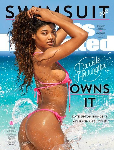 (Ben Watts/Sports Illustrated via AP). This image provided by Sports Illustrated shows the cover for the 2018 swimsuit edition issue of the magazine, showing Danielle Herrington. The magazine revealed its swimsuit edition cover Tuesday, Feb. 13, 2018. ...
