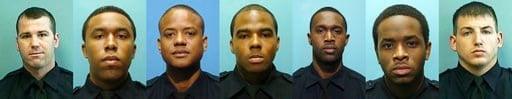 (Baltimore Police Department via AP). These undated photos provided by the Baltimore Police Department show, from left, Daniel Hersl, Evodio Hendrix, Jemell Rayam, Marcus Taylor, Maurice Ward, Momodu Gando and Wayne Jenkins.