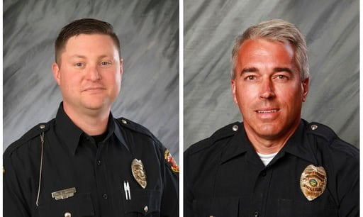 (City of Westerville via AP, File). FILE - These undated file photos provided by the City of Westerville, Ohio show Officers Eric Joering, 39, left, and Anthony Morelli, 54, who were fatally shot while responding to a hang-up 9-1-1 call on Saturday, Fe...