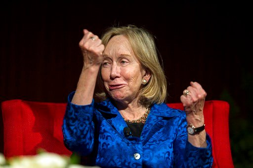 (AP Photo/Statesman.com, Rodolfo Gonzalez, pool). FILE - In this April 9, 2014 file photo, Doris Kearns Goodwin, Pulitzer Prize-winning American biographer, speaks during the discussion panel, LBJ and MLK:Fulfilling a Promise, Realizing a Dream, held a...