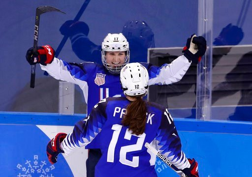 (AP Photo/Frank Franklin II). Jocelyne Lamoureux-Davidson (17), of the United States, celebrates her second goal against the team from Russia with Kelly Pannek (12) during the second period of the preliminary round of the women's hockey game at the 201...