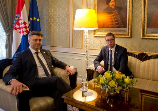 (AP Photo/Darko Bandic). Serbia's president Aleksandar Vucic, right, meets Croatian prime minister Andrej Plenkovic, in Zagreb, Croatia, Monday, Feb. 12, 2018. President Vucic is on a two day state visit to Croatia.