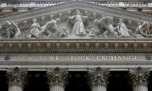 (AP Photo/Richard Drew, File). FILE - This Oct. 4, 2014, file photo, shows the facade of the New York Stock Exchange. Health care companies are leading stocks broadly lower in early trading Tuesday, Feb. 13, 2018, on Wall Street as the market gives bac...