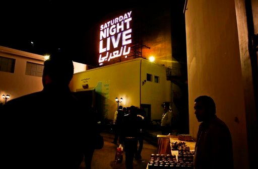 "(AP Photo/Nariman El-Mofty, File ). FILE - In this Tuesday, Feb. 16, 2016 file photo, people wait for this first ""Saturday Night Live Arabia,"" show to start in Cairo, Egypt. An Egyptian official says authorities have ordered a ban on airing the Arabic ..."