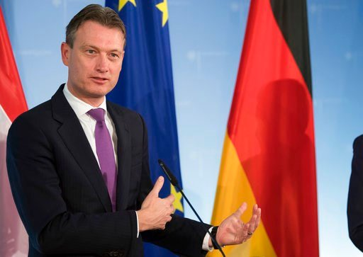 (Soeren Stache/dpa File via AP). FILE - This is a Thursday, Nov. 16. 2017 file photo of Netherlands Minister of Foreign Affairs Halbe Zijlstra attends a  press conference at the ministry of foreign affairs in Berlin, Germany. In a potentially damaging ...