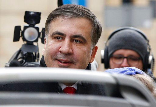 (AP Photo/Czarek Sokolowski). Mikheil Saakashvili, an opposition leader in Ukraine, arrives for a news conference in Warsaw, Poland, Tuesday, Feb. 13, 2018. Saakashvili was deported from Ukraine to Poland on Monday after being detained by armed, masked...