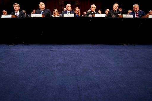 (AP Photo/Andrew Harnik). From left, FBI Director Christopher Wray, CIA Director Mike Pompeo, Director of National Intelligence Dan Coats, Defense Intelligence Agency Director Robert Ashley, National Security Agency Director Adm. Michael Rogers, and Na...