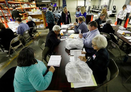 (AP Photo/Morry Gash, File). FILE- In this Dec. 1, 2016, file photo, workers begin a statewide presidential election recount in Milwaukee. Since last July, a bipartisan team at Harvard, including former U.S. Marine and Army cyberwarriors, national secu...